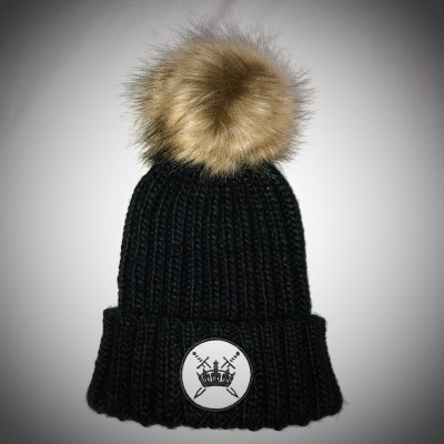 Sword & Crown Fur Pom Pom Beanie